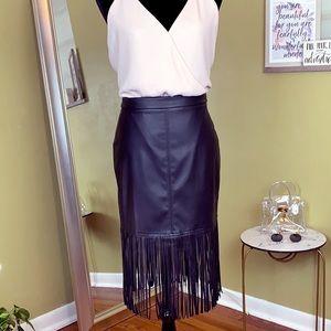 FOREVER 21 Faux Leather/ Fringe Skirt